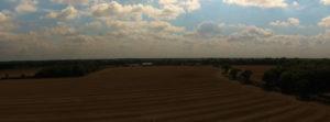 Aerial shot of fields.