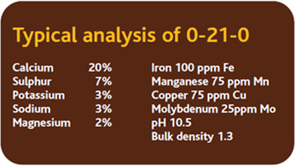 Typical analysis of pkup fertiliser.